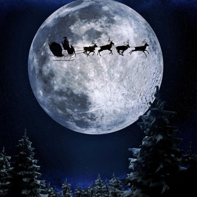Santa Flying Past