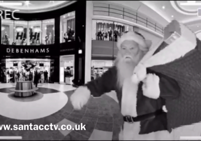 santa caught on cctv santa cam outside debenhams