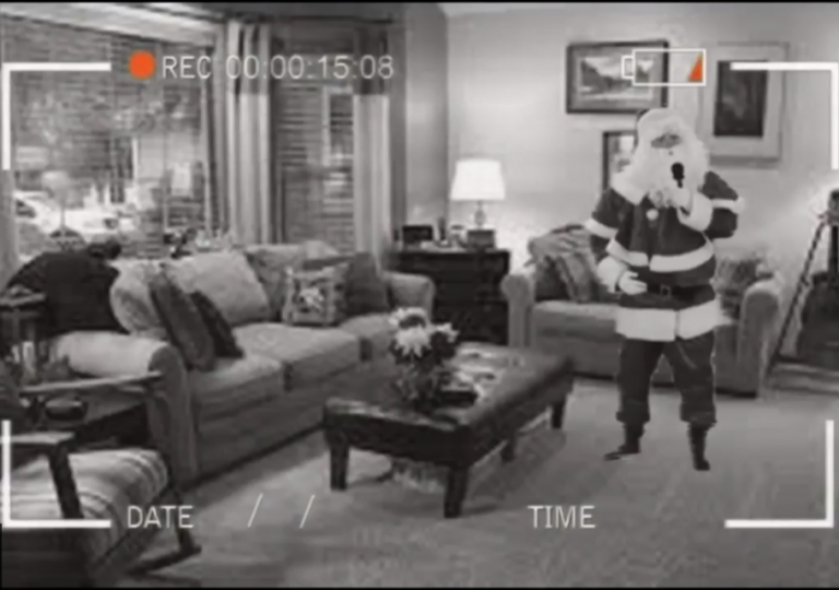 santa caught on camera doing karaoke