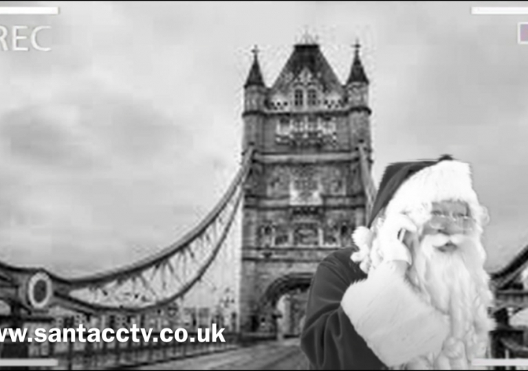 santa caught on santa cam cctv at tower bridge