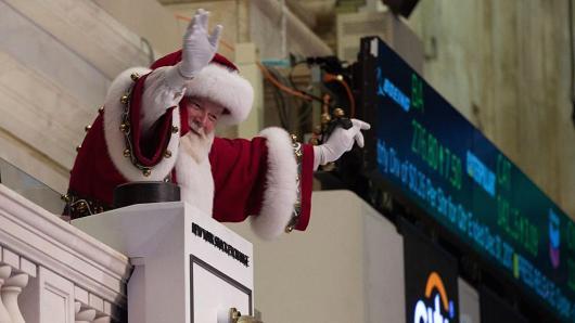 Père Noël au marché boursier