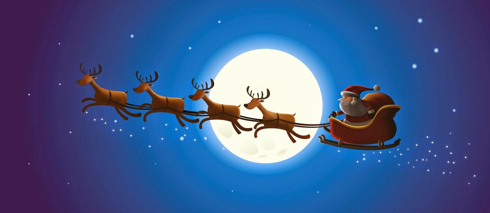 Санта-Клаус поймал Санта-Кам, ускоряя в своих салазках