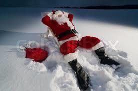 Santa i snøen på Chritmas